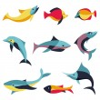 Vector set of logo design elements - fishes signs — Stock Vector