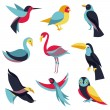 Vector set of logo design elements - birds signs — Stock Vector