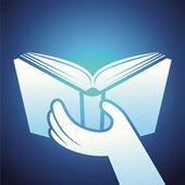 Wektor ikonę książki - podręcznik trzymając się za ręce — Wektor stockowy