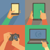 Vector set of flat icons - mobile phone, laptop — Stock Vector