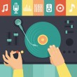 Vector turntable and dj hands - music concept — Stock Vector