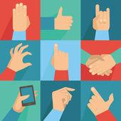 Vector set of hands and gestures — Stock Vector
