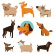 Vector set of funny cartoon dogs — Stock Vector #29921667
