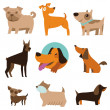 Vector set of funny cartoon dogs — Stock Vector