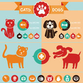 Vector set of infographics elements - dogs, cats — Stock Vector