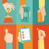 Jeu de mains avec argent et contrat vectorielles — Vecteur