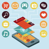 Vector mobile phone - infographic elements — Vector de stock