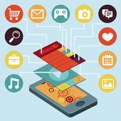 Vector telefone celular - infográfico elementos — Vetorial Stock