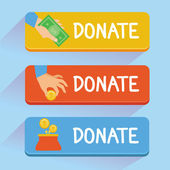 Vector donate concept - hand and money — Stock Vector