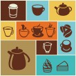 Vector set of coffee and tea icons — Stock Vector