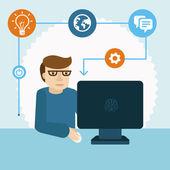 Vector cartoon programmer — Stock Vector