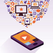 Vector mobiele telefoon met app pictogrammen — Stockvector
