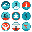 Vector fitness icons and signs — Stock Vector
