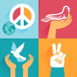 Vector set of peace signs and symbols — Stock Vector #33050497
