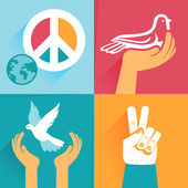 Vector set of peace signs and symbols — Stock Vector
