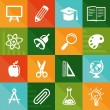 Vector flat icons - education and science — Stock Vector