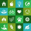 Vector ecology icons and signs in flat retro style — Imagen vectorial
