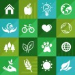 Vector ecology icons and signs in flat retro style — Stock Vector