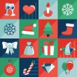 Vector christmas icons and signs in retro flat style — Stok Vektör