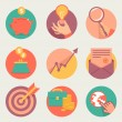 Vector business and finance icons and sign in flat style — Stock Vector