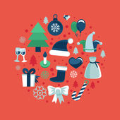 Vector christmas icons and signs in retro flat style — Vector de stock