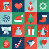 Vector christmas icons and signs in retro flat style — Stock Vector