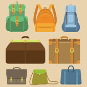 Vector set of flat icons - bags and backpacks — Vector de stock