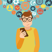 Smartphone addiction concept — Vettoriale Stock