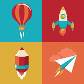 Vector icons in flat style - start up and launch — Stock Vector