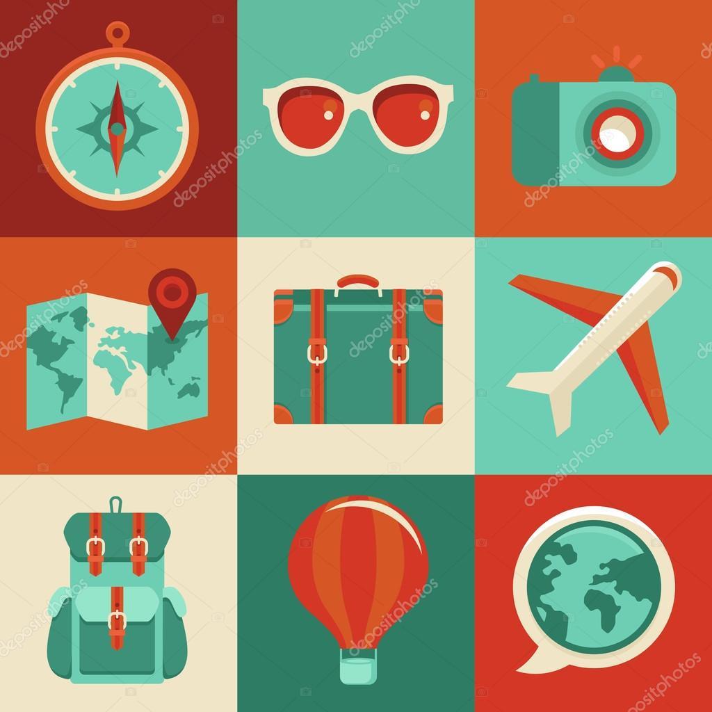 矢量平面图标-旅游和度假