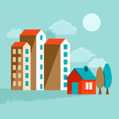 Vector flat illustration - landcsape with houses — Stock Vector