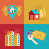 Real estate icons in flat style — Stock Vector