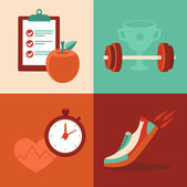 Vector fitness icons in flat trendy style — Stock Vector
