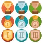 Vector achievement badges - gold, silver, bronze — Stock Vector