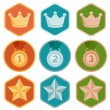 Vector achievement badges - gold, silver, bronze — Stock Vector