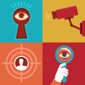 Vector surveillance concepts -icons in flat style — Stock Vector