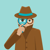 Vector detective illustration in flat style — Stock Vector