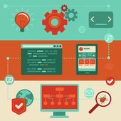 Vektör düz simgeler - web sitesi geliştirme — Stok Vektör