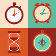 Vector set of flat icons - time and clock symbols — Stockvector
