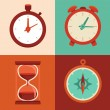 Vector set of flat icons - time and clock symbols — Stok Vektör