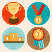 Vector achievement badges in flat style — Stock Vector