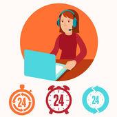 Customer support operator - flat illustration — Stock Vector