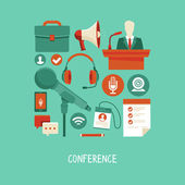 Vector business conference concept in flat style — Stock Vector