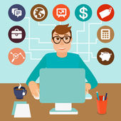 Vector self employed man in flat style — Stock Vector