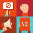 Vector protest signs and icons — Stock Vector