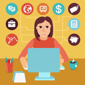 Vector self employed woman in flat style — Stock Vector