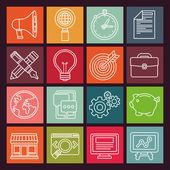Vector internet marketing icons in flat style — Vettoriale Stock