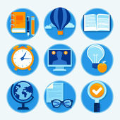 Vector education icons in flat style — Stock Vector