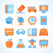 Flat vector icon set of education symbols — Stock Vector #45926151