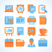 Flat vector icon set office and business symbols — Stock Vector